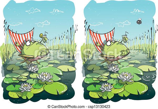rigolote, visuel, différences, jeu, grenouille - csp13130423
