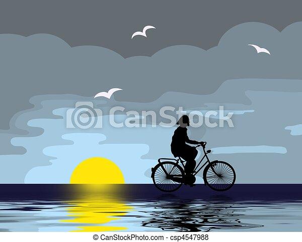 rijden, fiets, avond - csp4547988