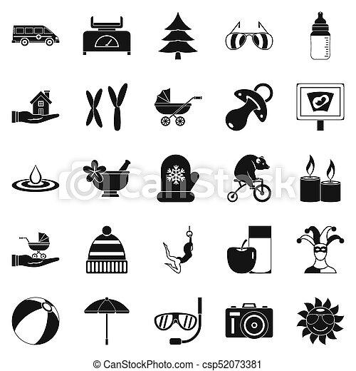 rilassamento, stile, set, icone semplici - csp52073381