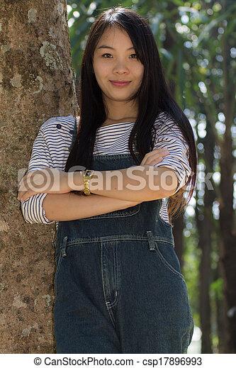Rimight Portrait Beautiful asian woman - csp17896993