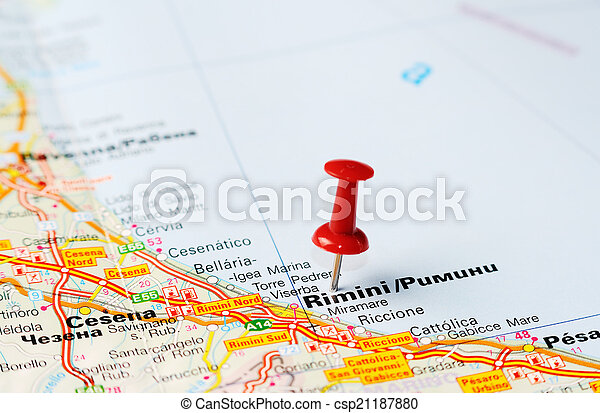 Rimini Italy Map Close Up Of Rimini Italy Map With Red Pin