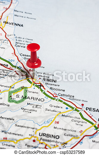 Rimini Pinned On A Map Of Italy Road Map Of The City Of Rimini Italy