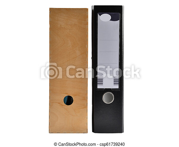 Ring binder and wooden box on white background - csp61739240