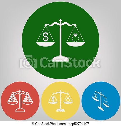 Ring Jewelery And Dollar Symbol On Scales Vector 4 White Vector