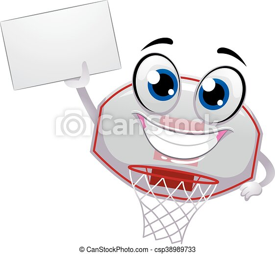 Ring Mascot Hold Blank Board Vector Illustration Of Basketball Ring