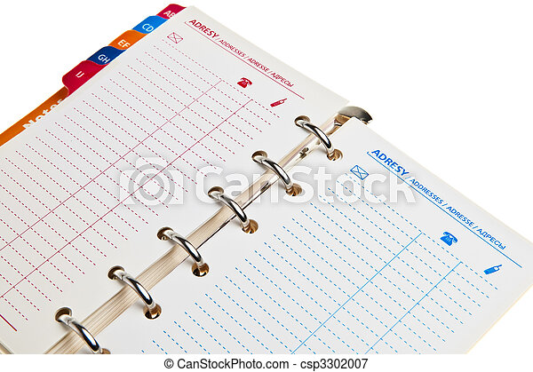 Ring notebook, addressbook isolated over white background. - csp3302007