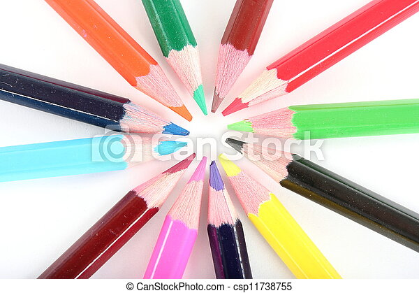 Ring of color pencils on white background - csp11738755