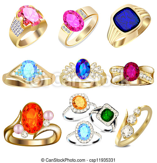 ring set with precious stones on white - csp11935331