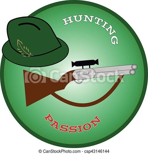 Sombrero de caza con pistola en anillo verde. - csp43146144