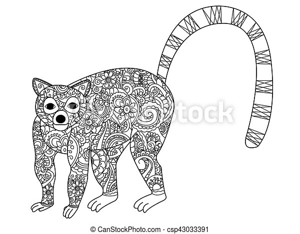 Ring Tailed Lemur Coloring Vector For Adults Ring Tailed Lemur Book