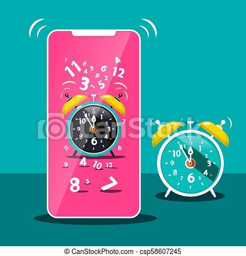 Ringing Alarm Clock Icon. Vector Cellphone  Symbol. Time. - csp58607245