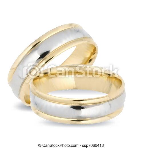 rings., vektor, arany, esküvő - csp7060418