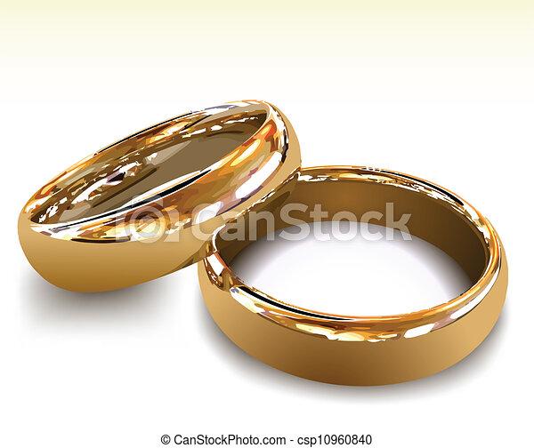 rings., vettore, oro, illustrazione, matrimonio - csp10960840