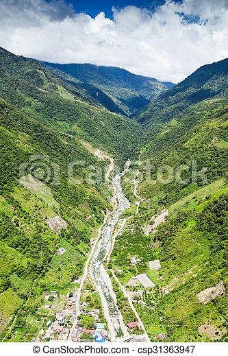 Rio Blanco Tungurahua Aerial Shot - csp31363947