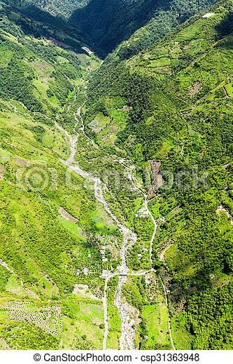 Rio Blanco Tungurahua Aerial Shot - csp31363948
