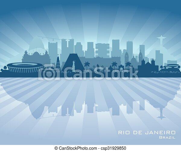Rio de Janeiro Brazil city skyline vector silhouette - csp31929850