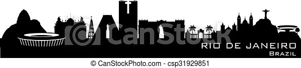 Rio de Janeiro Brazil city skyline vector silhouette - csp31929851