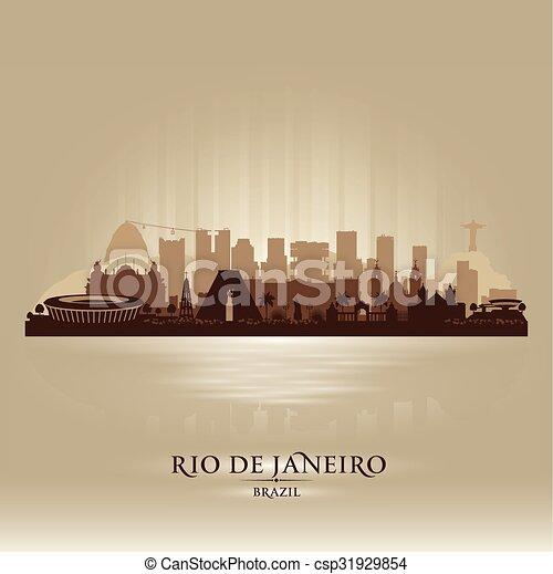 Rio de Janeiro Brazil city skyline vector silhouette - csp31929854