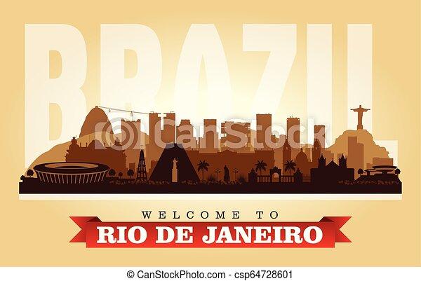 Rio de Janeiro Brazil city skyline vector silhouette - csp64728601