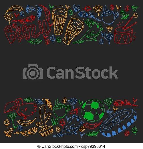 Rio de janeiro Brazil. Vector pattern with national symbols. - csp79395614