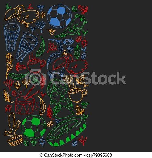 Rio de janeiro Brazil. Vector pattern with national symbols. - csp79395608