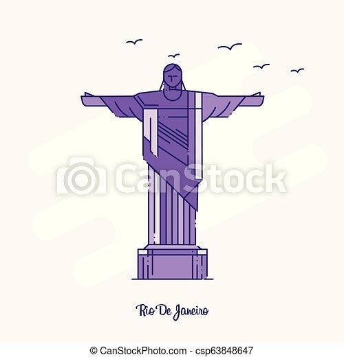 RIO DE JANEIRO Landmark Purple Dotted Line skyline vector illustration - csp63848647
