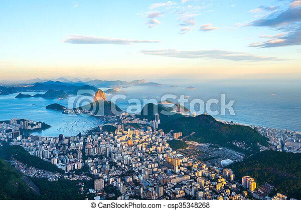 Rio de Janeiro, panoramic view from Corcovado to Sugarloaf Mountain - csp35348268
