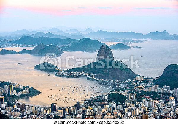 Rio de Janeiro, view from Corcovado to Sugarloaf Mountain - csp35348262