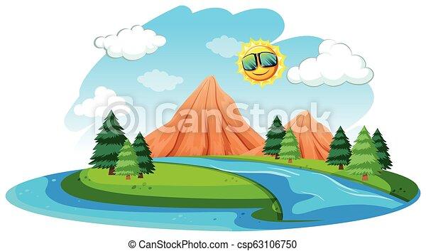 rio, natural, paisagem - csp63106750