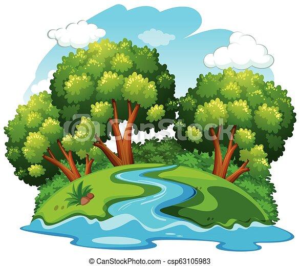 rio, natural, paisagem - csp63105983