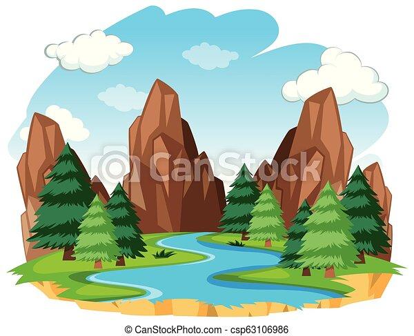 rio, natural, paisagem - csp63106986