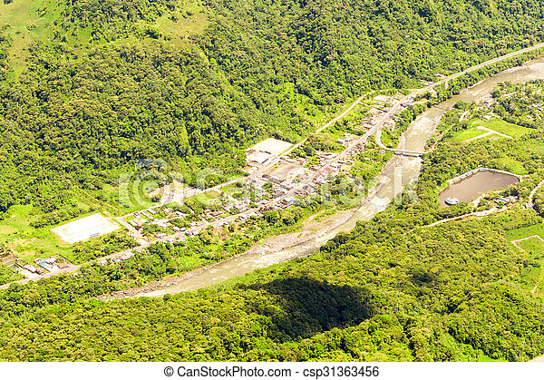 Rio Negro Tungurahua Aerial Shot - csp31363456