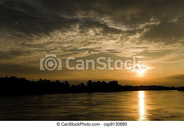 rio, pôr do sol - csp9130880