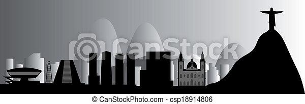 Rio skyline vector - csp18914806