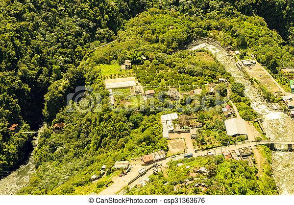 Rio Verde Tungurahua Aerial Shot - csp31363676