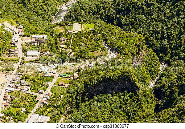 Rio Verde Tungurahua Aerial Shot - csp31363677
