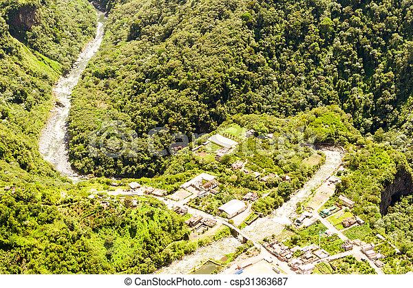 Rio Verde Tungurahua Aerial Shot - csp31363687