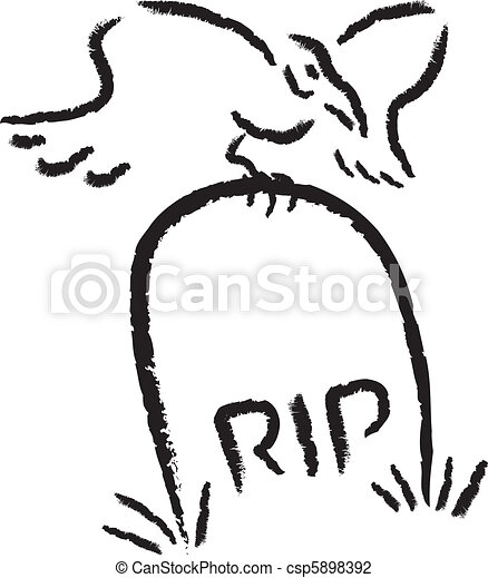 rip raven a raven perched on top of a tombstone rh canstockphoto com rip gravestone clipart