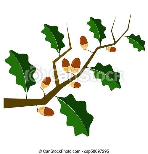 Ripe Acorn Icon. Autumn Oak Branch and Leaves Logo - csp58097295
