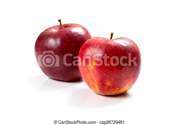 ripe apples on a white background - csp26729481
