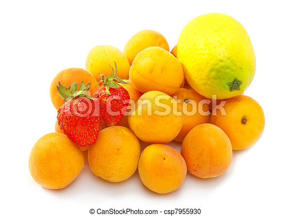Ripe apricots and berry of strawberry on white background - csp7955930