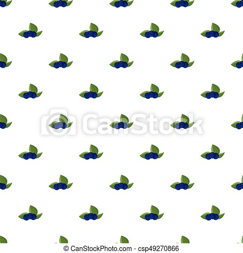 Ripe bilberries with green leaves pattern - csp49270866