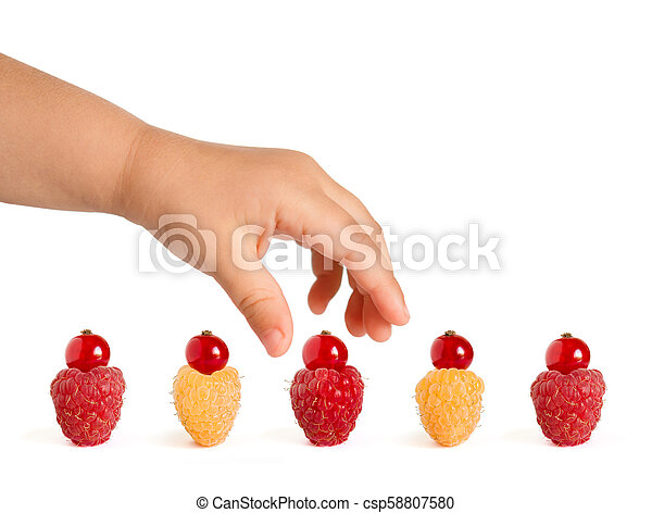 Ripe Colorful Raspberries with Red Currants on the Top Isolated on the White Background - csp58807580