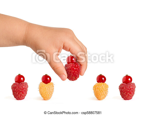 Ripe Colorful Raspberries with Red Currants on the Top Isolated on the White Background - csp58807581