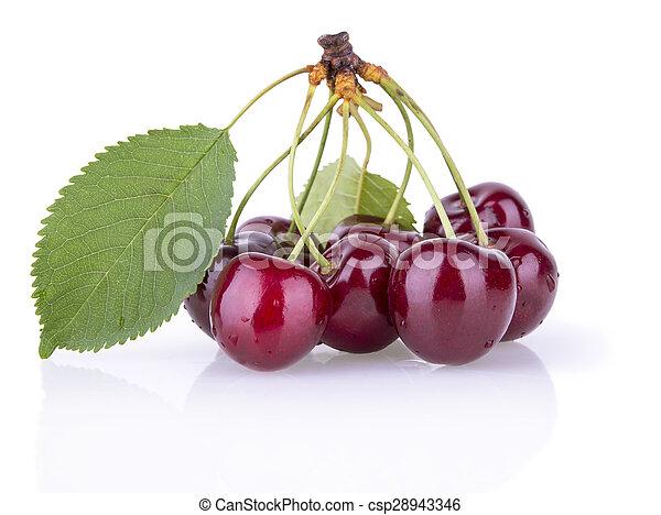 ripe juicy cherries with leaves - csp28943346