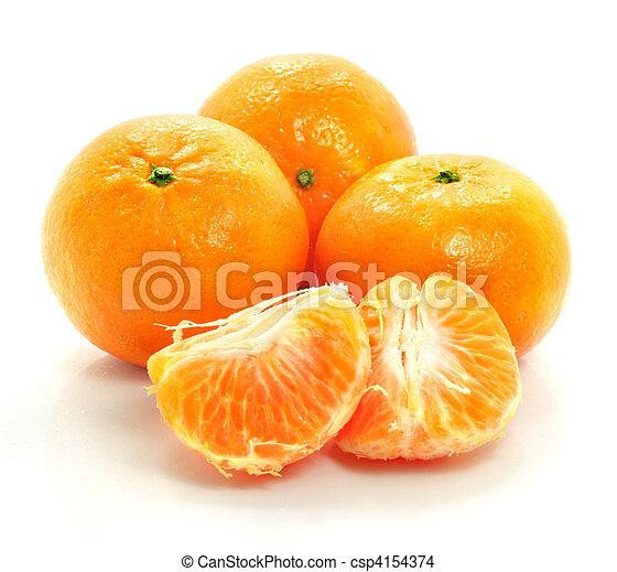ripe mandarine fruit isolated food on white background - csp4154374