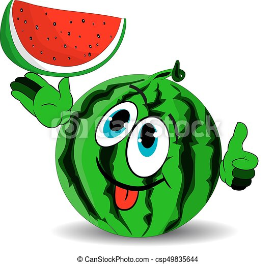 Ripe merry watermelon shows a slice and stuck out his tongue, cartoon on a white background. - csp49835644