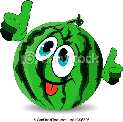 Ripe merry watermelon shows thumbs up and stuck out the tongue, cartoon on a white background. - csp49835626