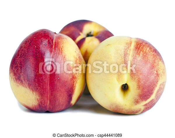 Ripe nectarines on a white background - csp44441089