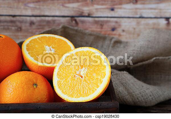 ripe orange in a wooden crate - csp19028430